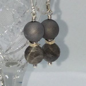 Sterling Silver Labradorite Druzy Drop Earrings